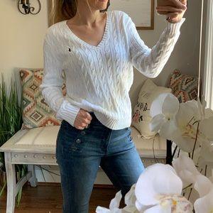 Ralph Lauren Sport   Cable Knit V Neck Sweater